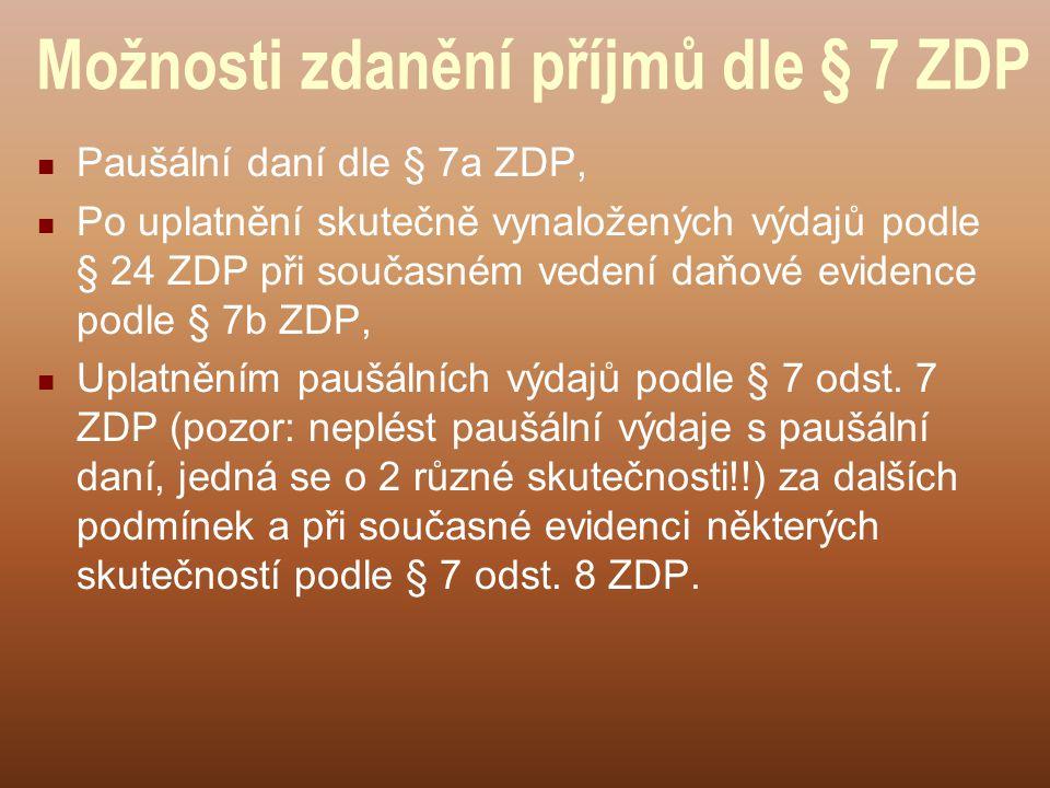 Možnosti zdanění příjmů dle § 7 ZDP