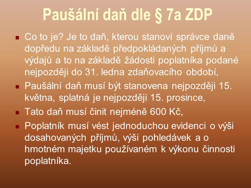 Paušální daň dle § 7a ZDP