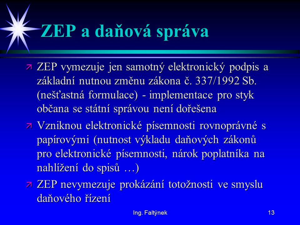 ZEP a daňová správa