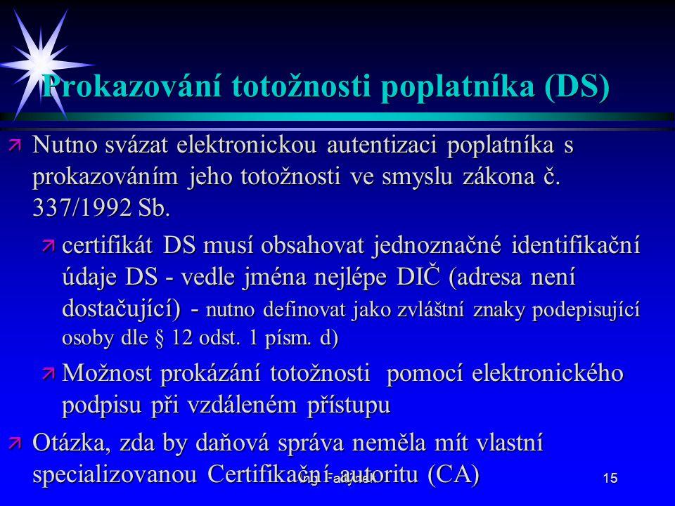 Prokazování totožnosti poplatníka (DS)