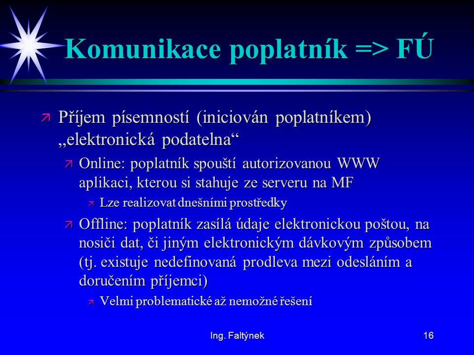 Komunikace poplatník => FÚ