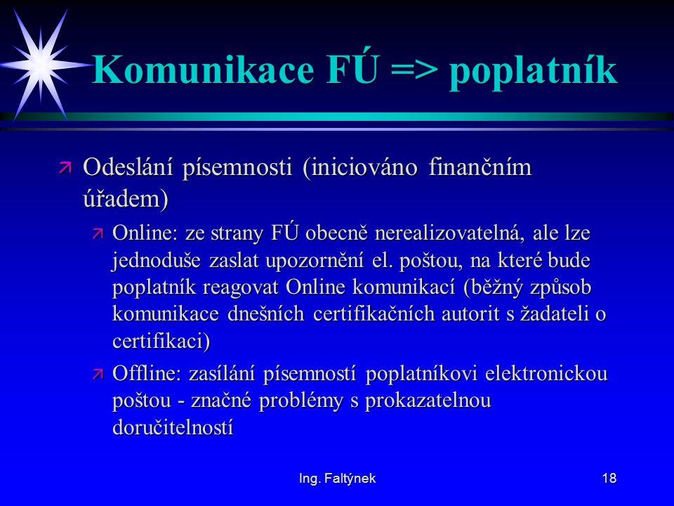 Komunikace FÚ => poplatník