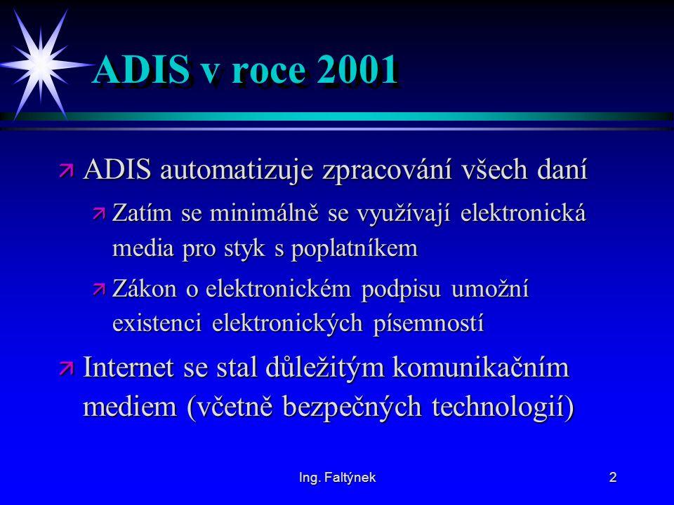 ADIS v roce 2001 ADIS automatizuje zpracování všech daní