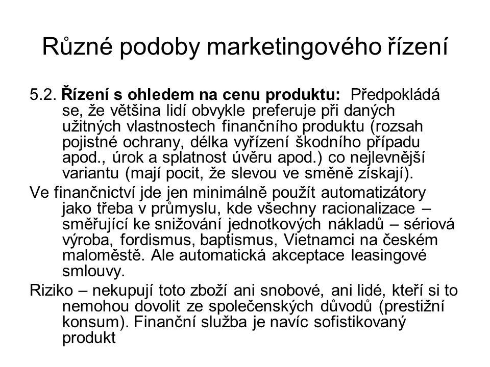 Různé podoby marketingového řízení