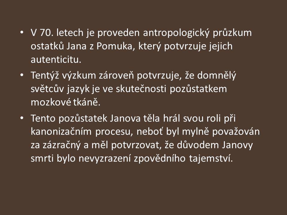 V 70. letech je proveden antropologický průzkum ostatků Jana z Pomuka, který potvrzuje jejich autenticitu.