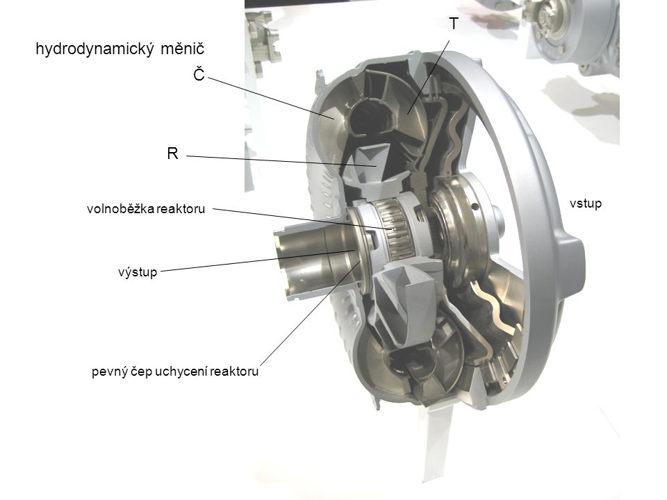 T hydrodynamický měnič Č R vstup volnoběžka reaktoru výstup