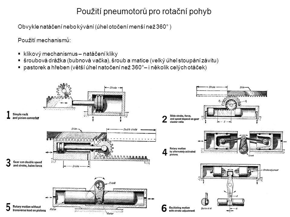 Použití pneumotorů pro rotační pohyb