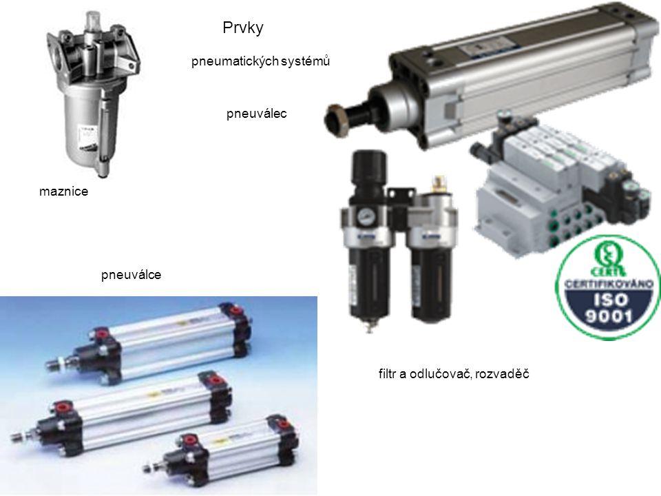 Prvky pneumatických systémů pneuválec maznice pneuválce