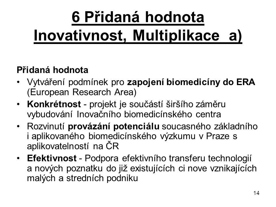 6 Přidaná hodnota Inovativnost, Multiplikace a)