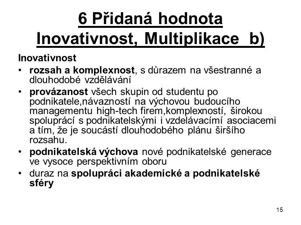 6 Přidaná hodnota Inovativnost, Multiplikace b)