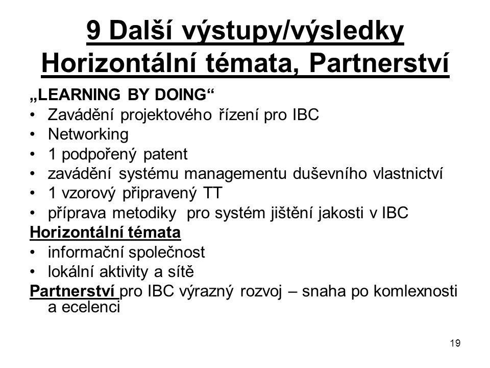 9 Další výstupy/výsledky Horizontální témata, Partnerství