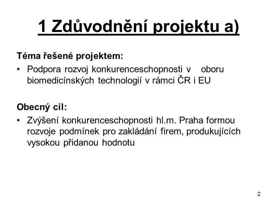 1 Zdůvodnění projektu a)