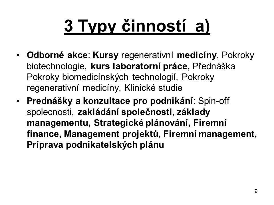 3 Typy činností a)