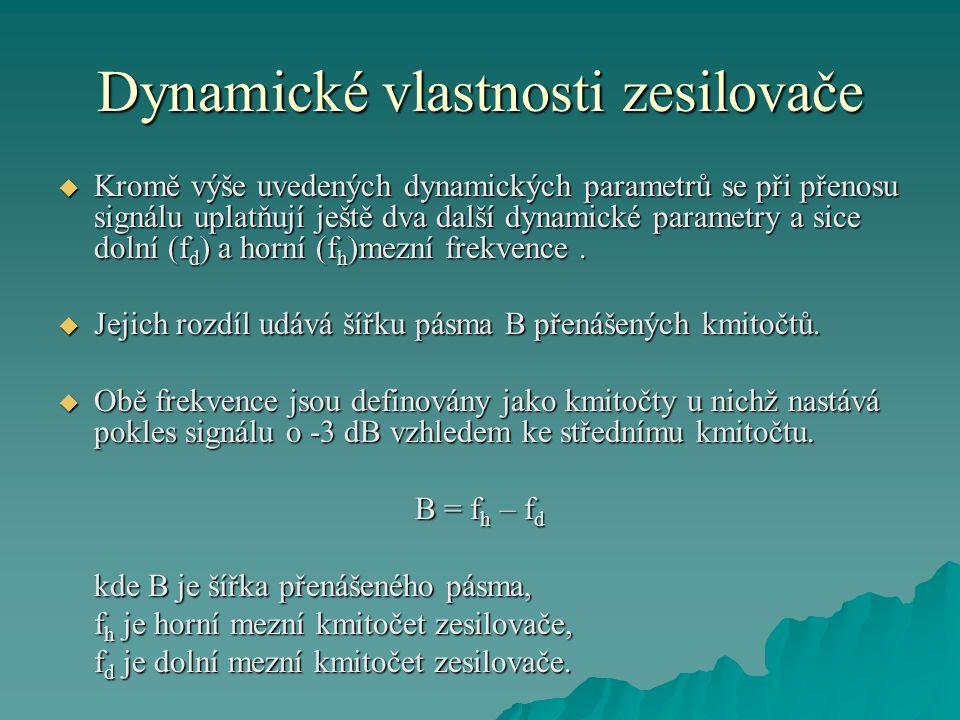 Dynamické vlastnosti zesilovače
