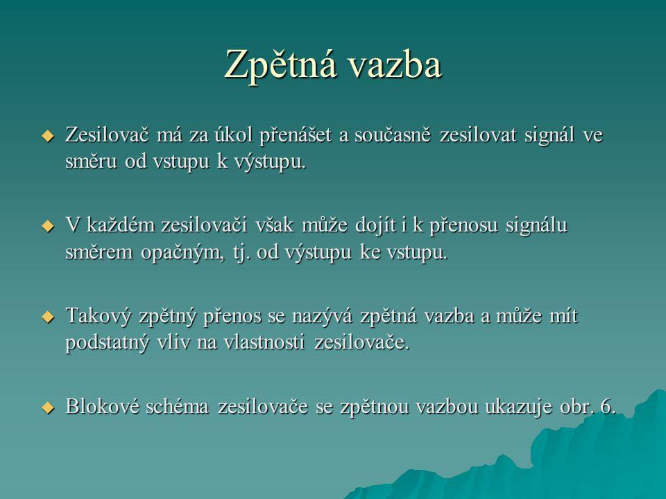 Zpětná vazba Zesilovač má za úkol přenášet a současně zesilovat signál ve směru od vstupu k výstupu.