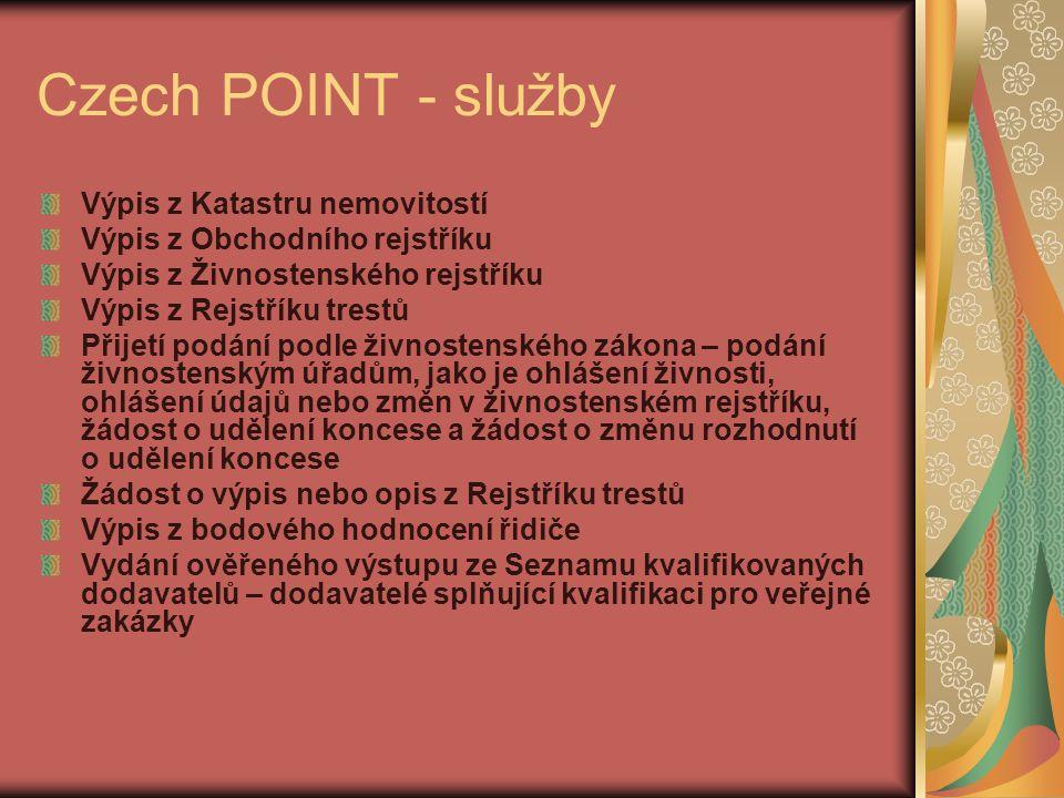Czech POINT - služby Výpis z Katastru nemovitostí