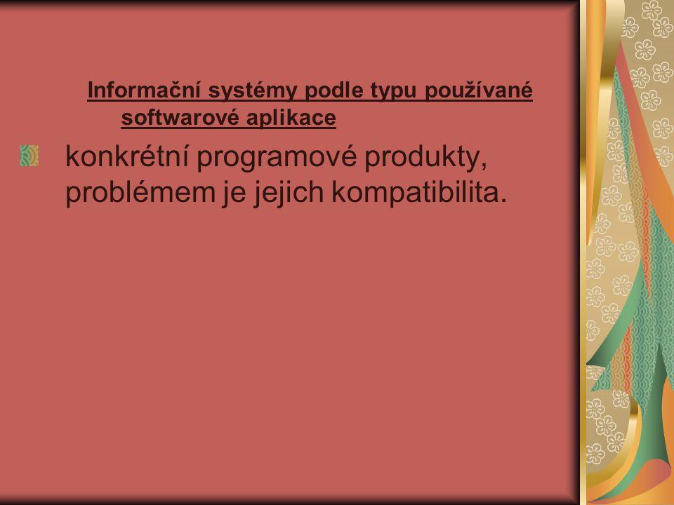 konkrétní programové produkty, problémem je jejich kompatibilita.