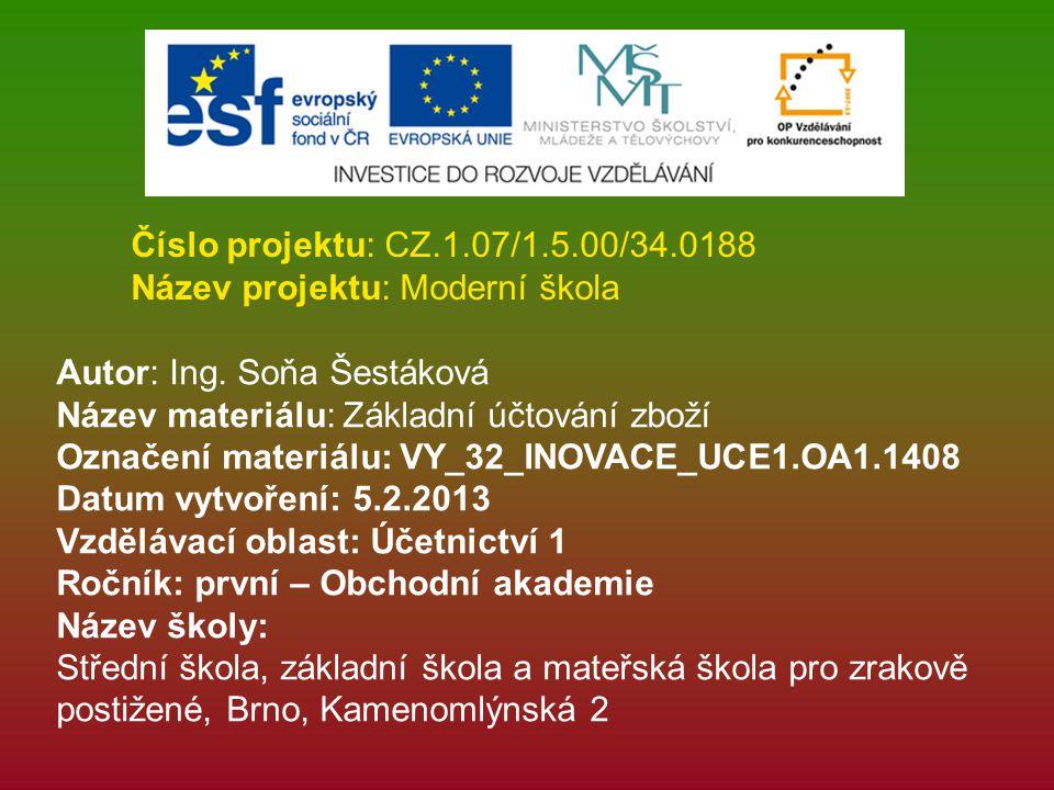 Číslo projektu: CZ.1.07/1.5.00/34.0188 Název projektu: Moderní škola. Autor: Ing. Soňa Šestáková. Název materiálu: Základní účtování zboží.