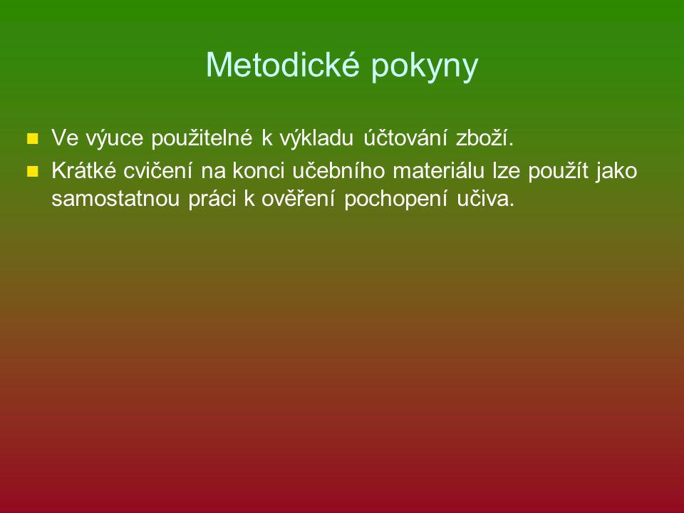 Metodické pokyny Ve výuce použitelné k výkladu účtování zboží.