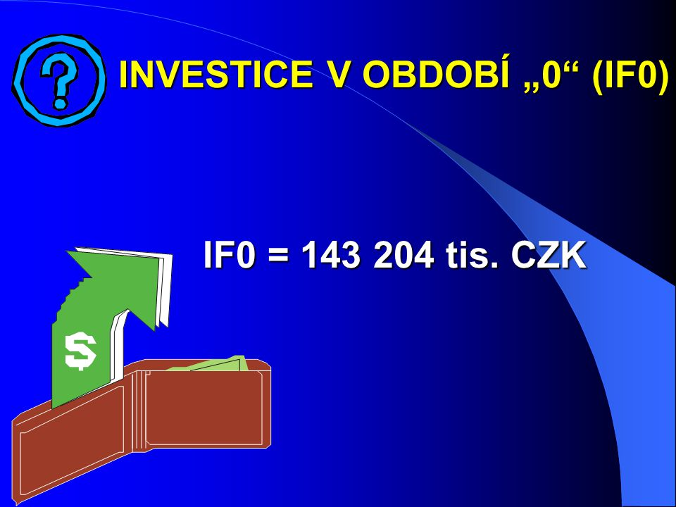 "INVESTICE V OBDOBÍ ""0 (IF0) IF0 = 143 204 tis. CZK"