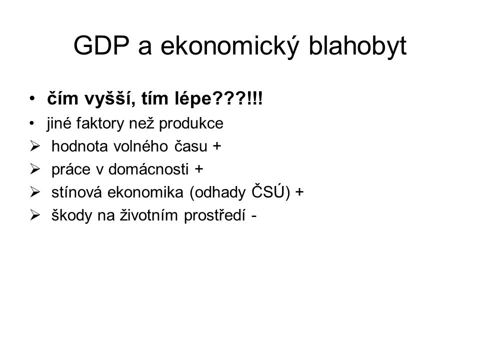GDP a ekonomický blahobyt