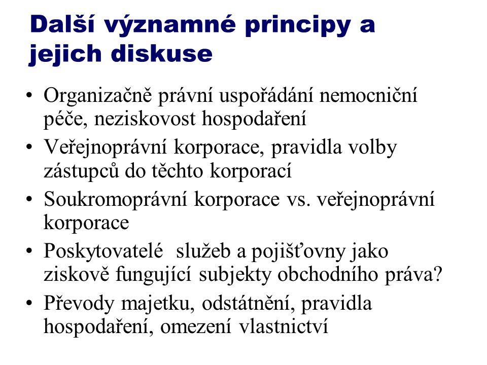 Další významné principy a jejich diskuse