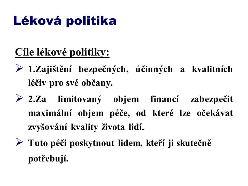 Léková politika Cíle lékové politiky: