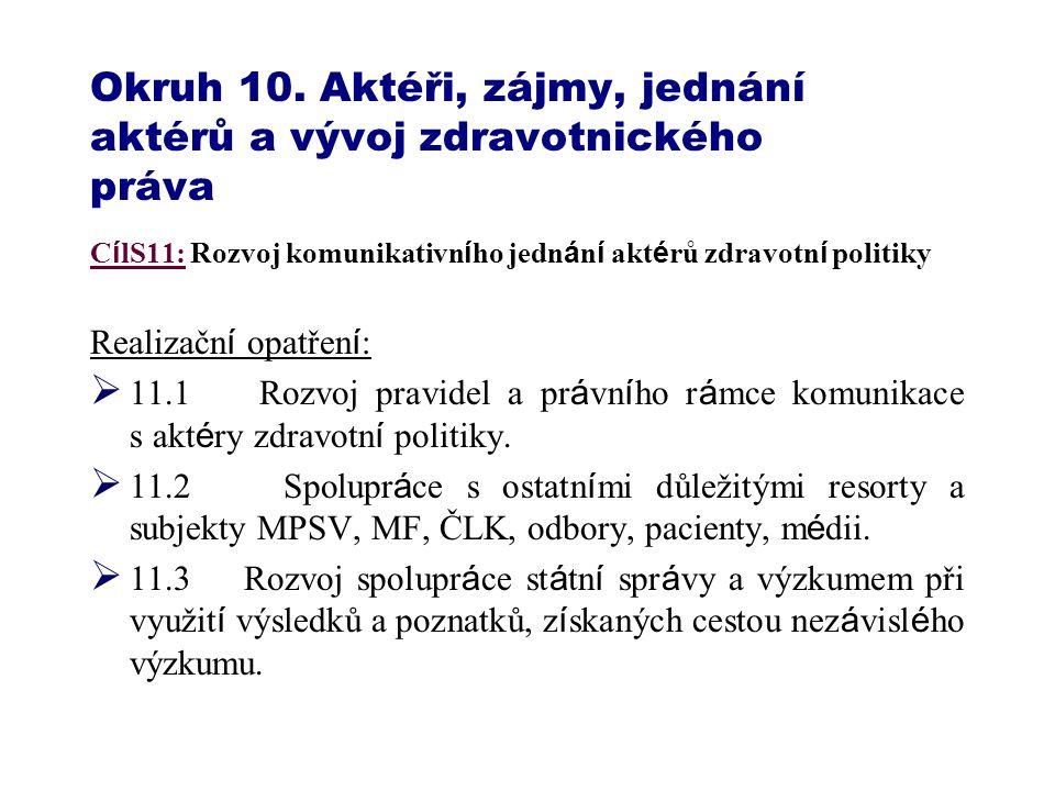Okruh 10. Aktéři, zájmy, jednání aktérů a vývoj zdravotnického práva