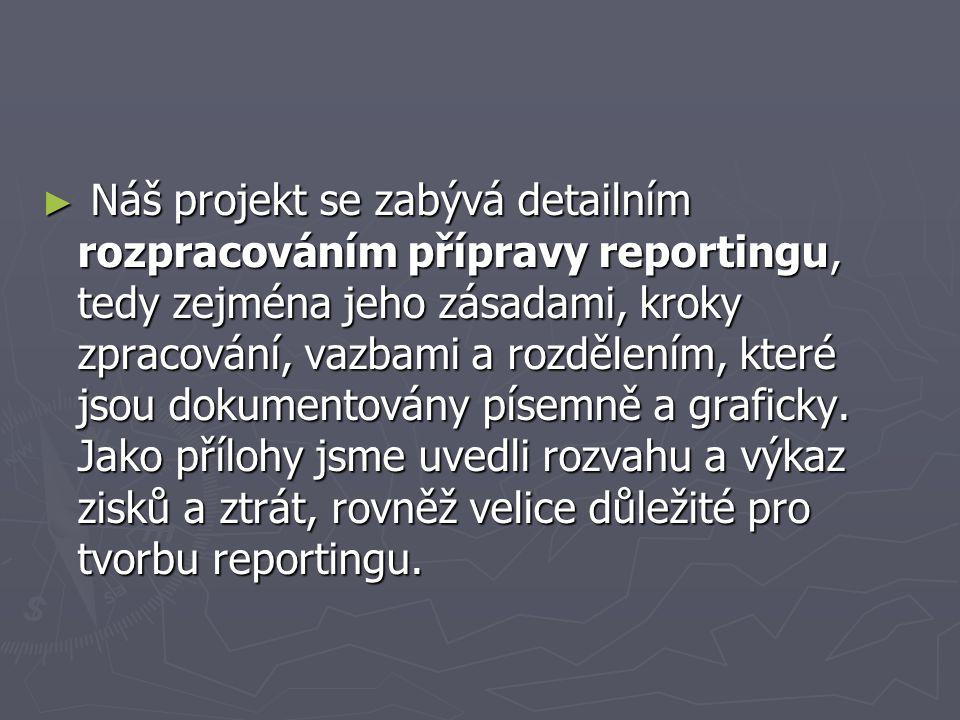 Náš projekt se zabývá detailním rozpracováním přípravy reportingu, tedy zejména jeho zásadami, kroky zpracování, vazbami a rozdělením, které jsou dokumentovány písemně a graficky.