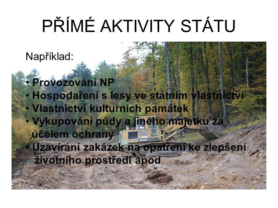 PŘÍMÉ AKTIVITY STÁTU Například: Provozování NP