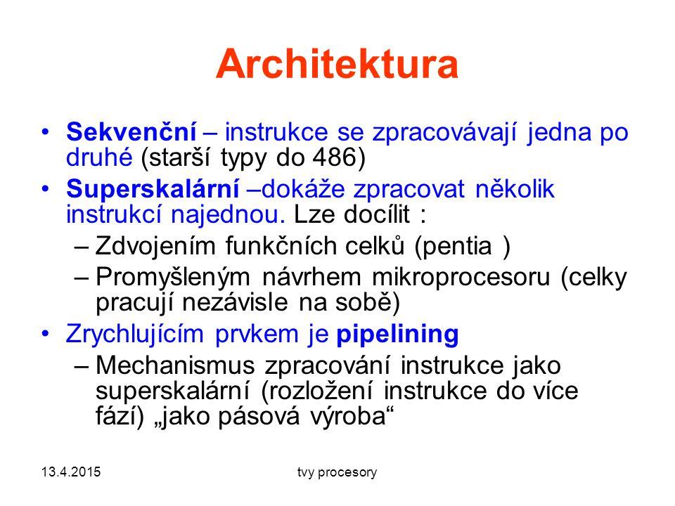 Architektura Sekvenční – instrukce se zpracovávají jedna po druhé (starší typy do 486)