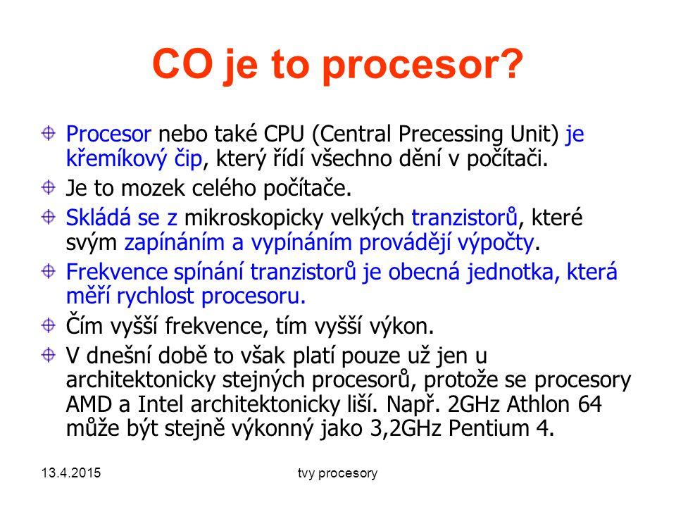 CO je to procesor Procesor nebo také CPU (Central Precessing Unit) je křemíkový čip, který řídí všechno dění v počítači.