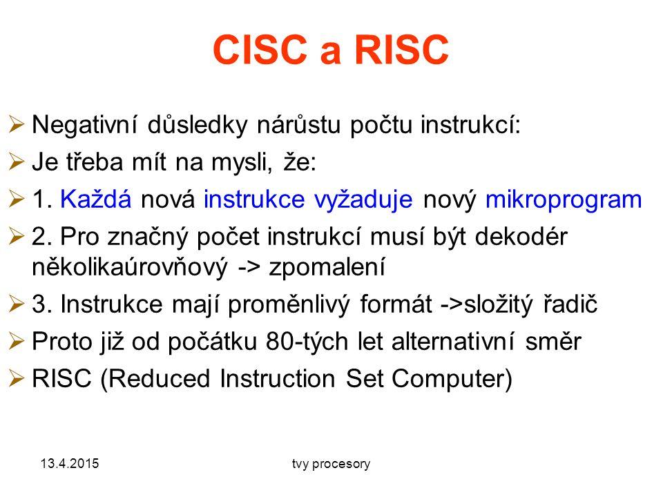 CISC a RISC Negativní důsledky nárůstu počtu instrukcí: