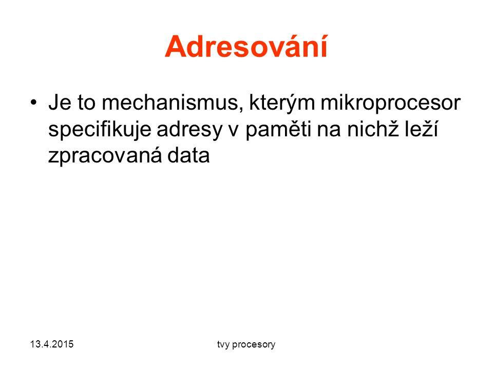 Adresování Je to mechanismus, kterým mikroprocesor specifikuje adresy v paměti na nichž leží zpracovaná data.