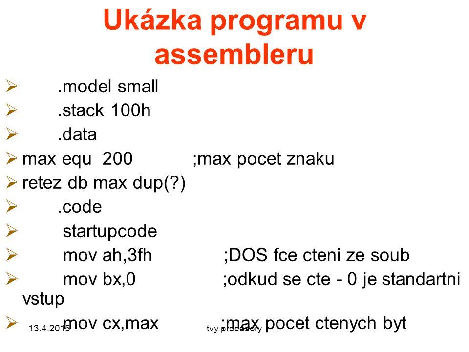 Ukázka programu v assembleru