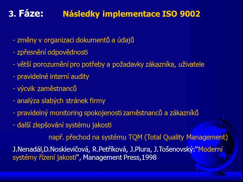 3. Fáze: Následky implementace ISO 9002