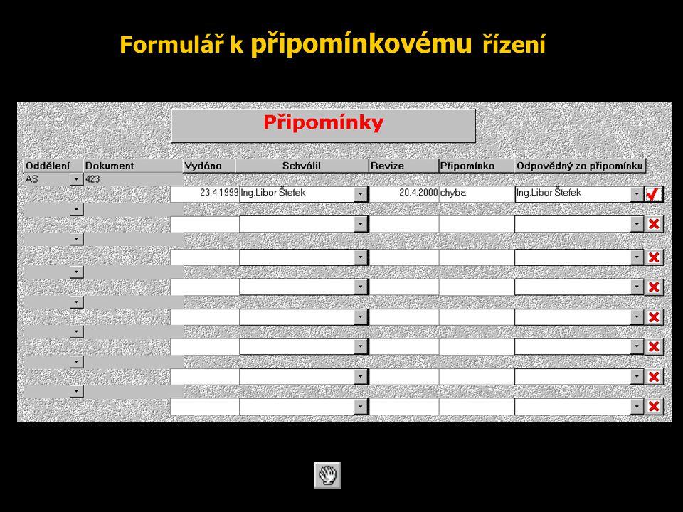 Formulář k připomínkovému řízení