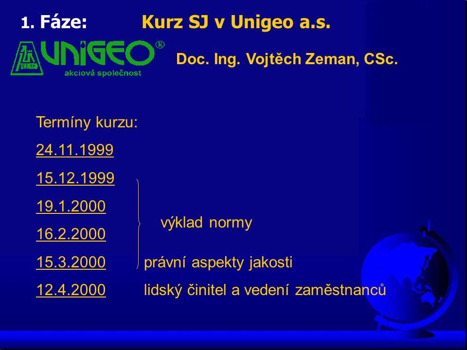 1. Fáze: Kurz SJ v Unigeo a.s.
