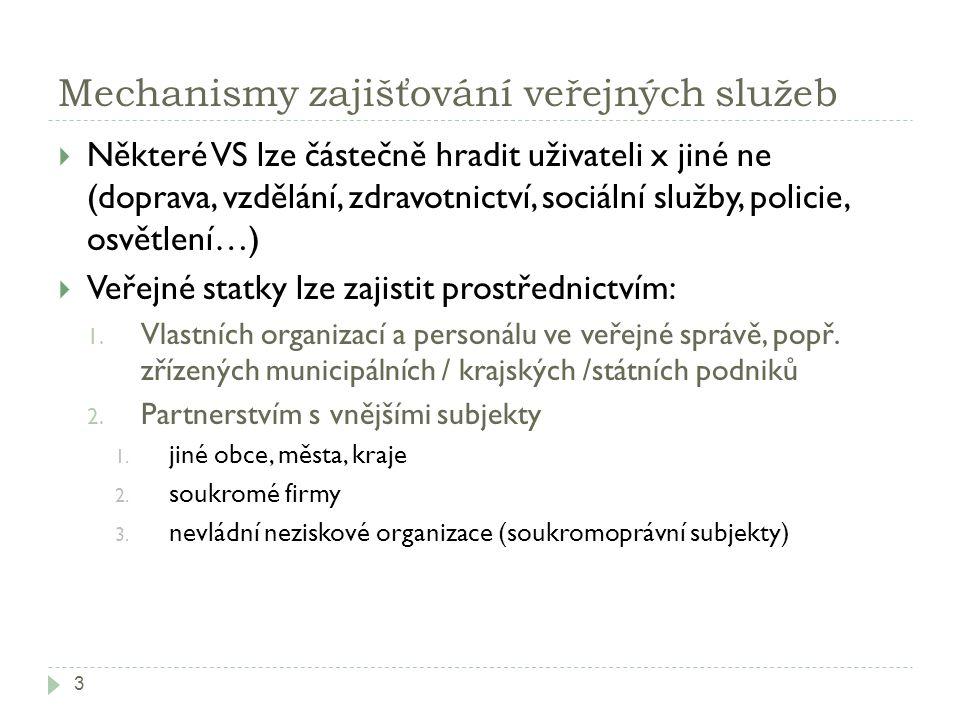 Mechanismy zajišťování veřejných služeb