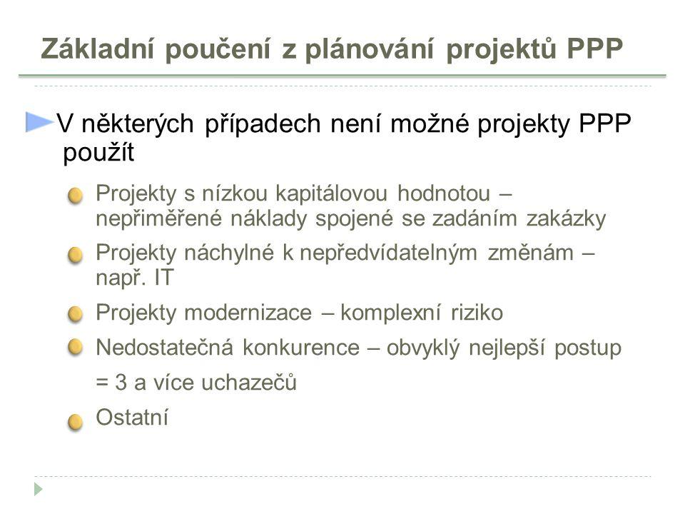 Základní poučení z plánování projektů PPP