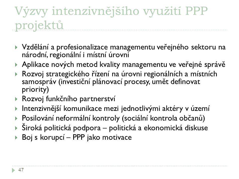 Výzvy intenzivnějšího využití PPP projektů