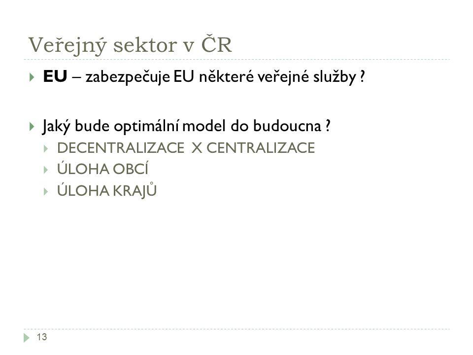 Veřejný sektor v ČR EU – zabezpečuje EU některé veřejné služby