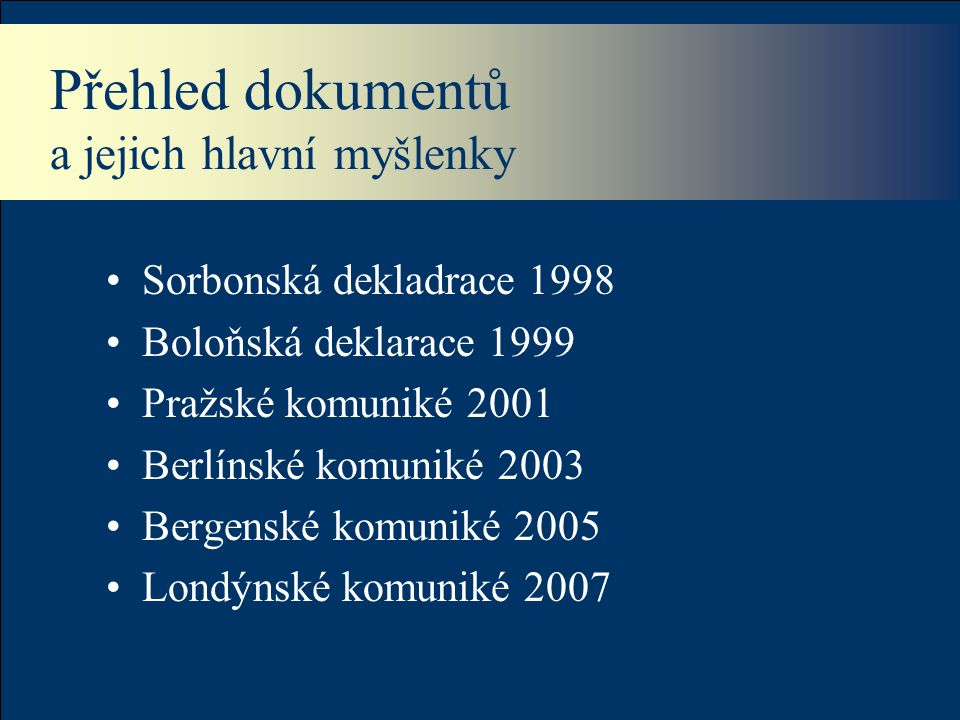 Přehled dokumentů a jejich hlavní myšlenky