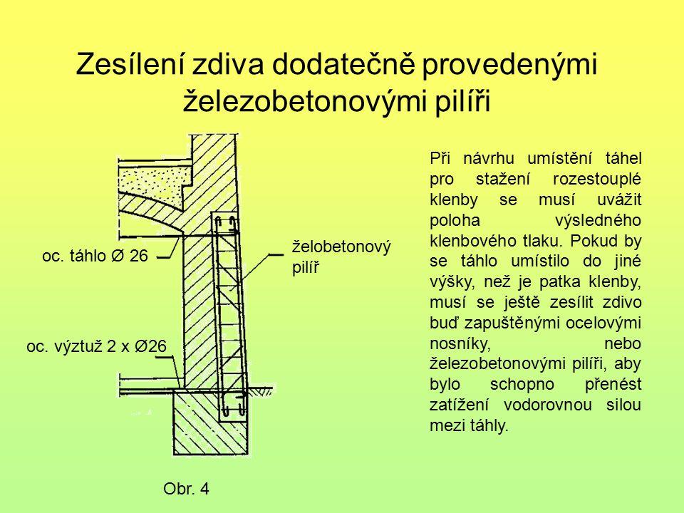 Zesílení zdiva dodatečně provedenými železobetonovými pilíři