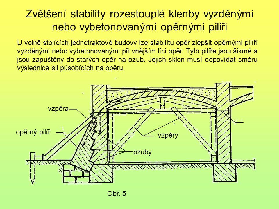 Zvětšení stability rozestouplé klenby vyzděnými nebo vybetonovanými opěrnými pilíři