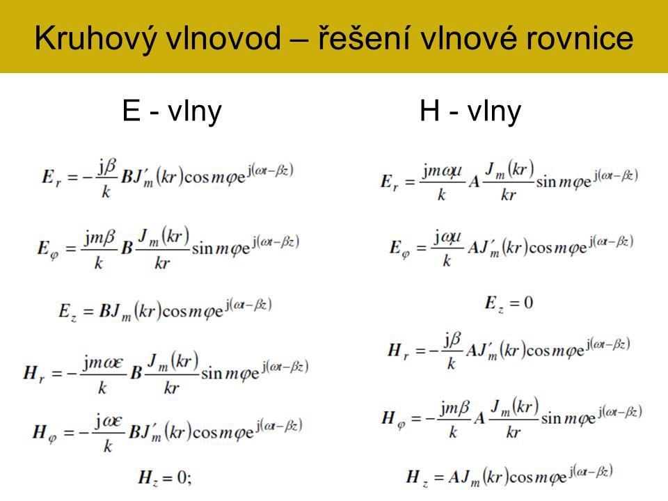 Kruhový vlnovod – řešení vlnové rovnice