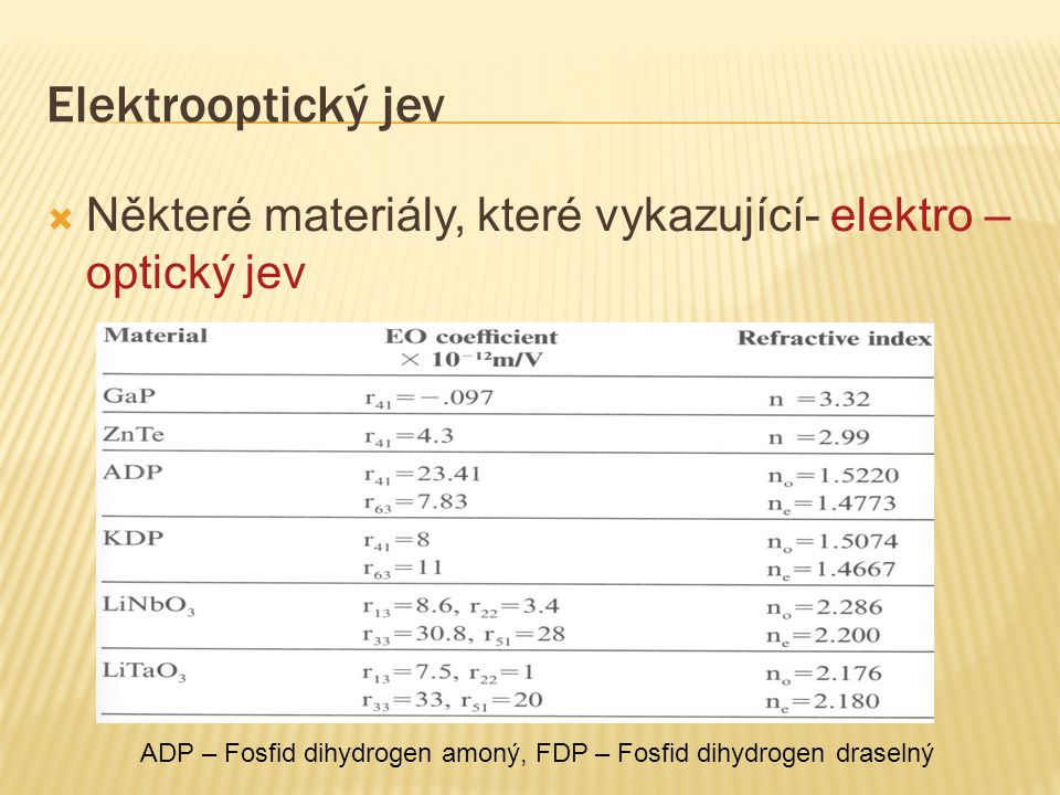 Elektrooptický jev Některé materiály, které vykazující- elektro – optický jev.