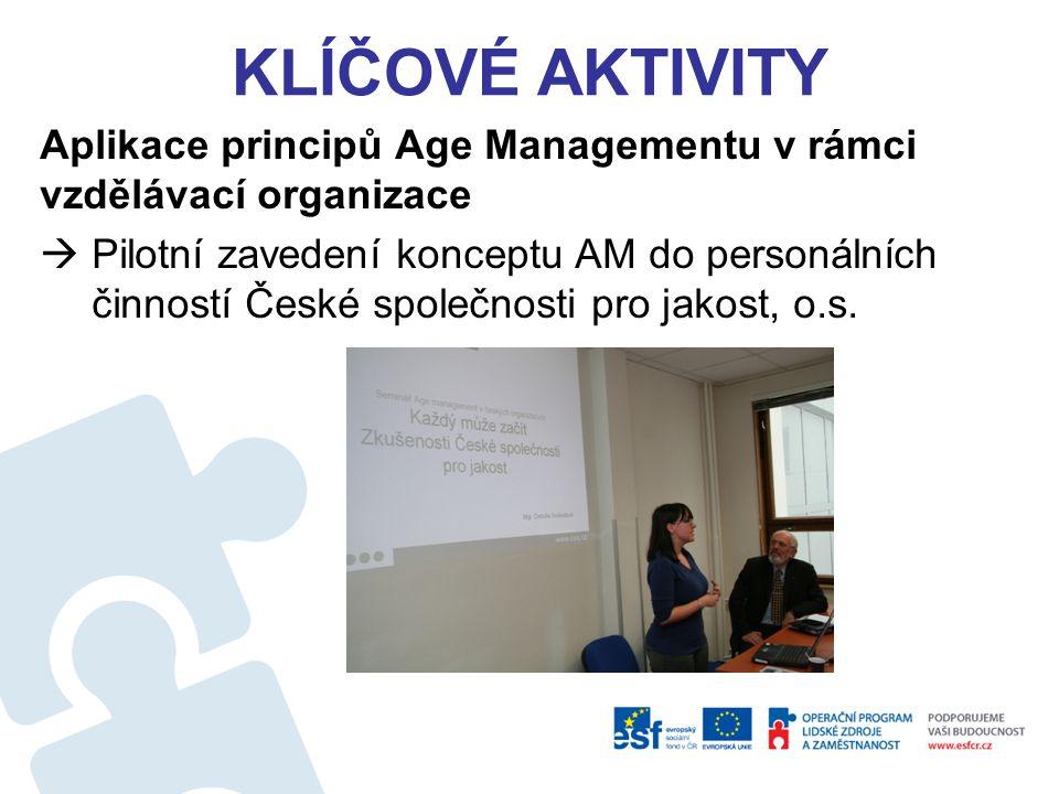 Klíčové aktivity Aplikace principů Age Managementu v rámci vzdělávací organizace.