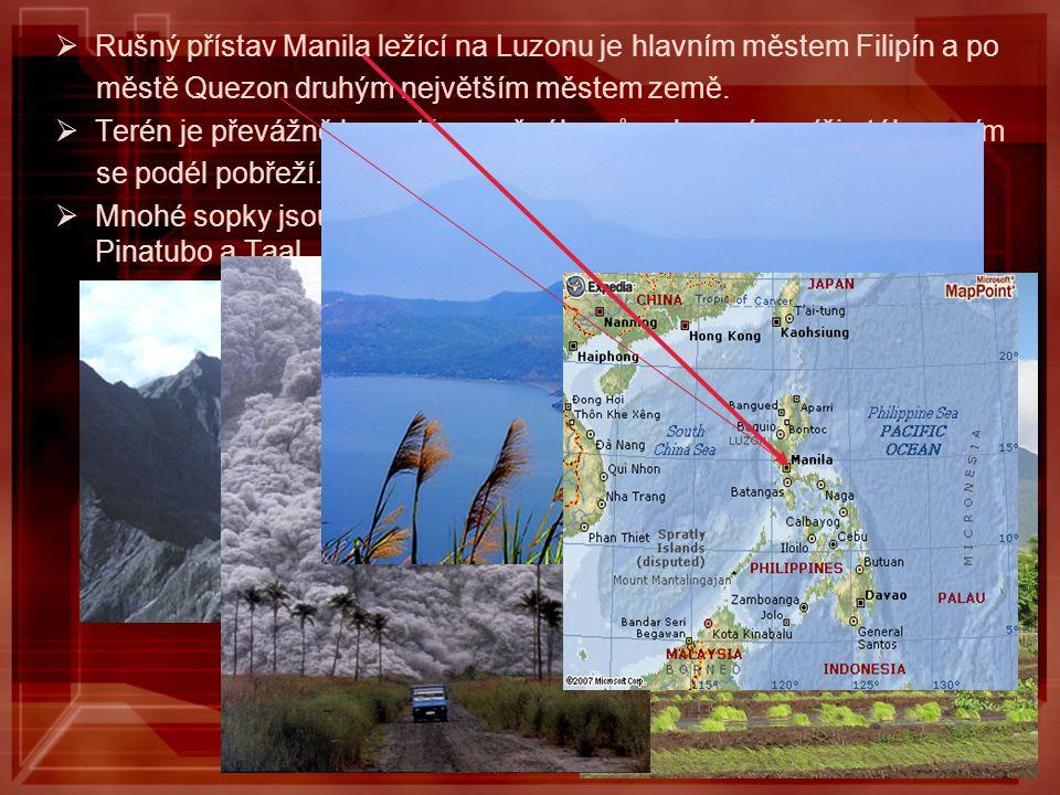 Rušný přístav Manila ležící na Luzonu je hlavním městem Filipín a po