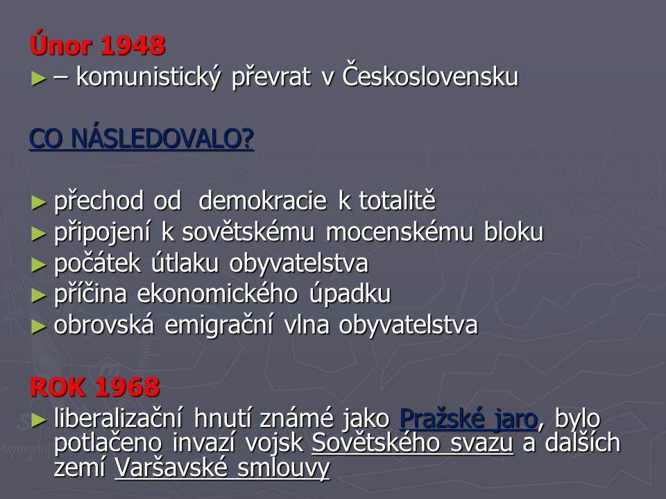 Únor 1948 – komunistický převrat v Československu. CO NÁSLEDOVALO přechod od demokracie k totalitě.